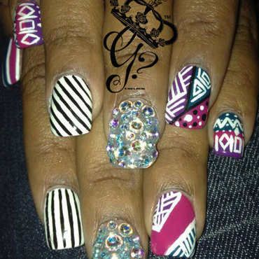 Tribal mix nail art by G's Nails N' Creations