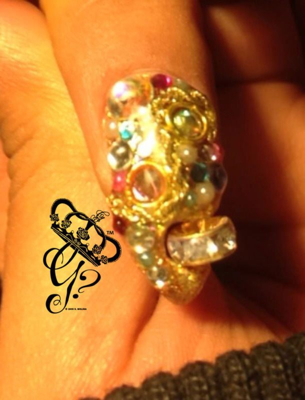 14k Rope chain + spinning jewel nail art by G's Nails N' Creations