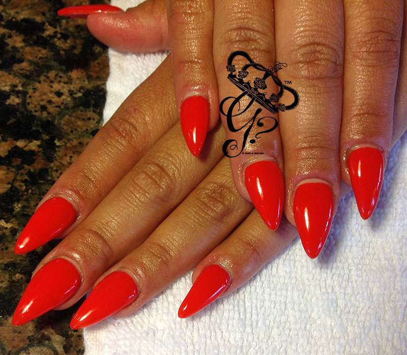 Sculpted Red stiletto nail art by G's Nails N' Creations
