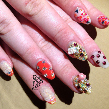 Polka dots, flowers + lace nail art by G's Nails N' Creations