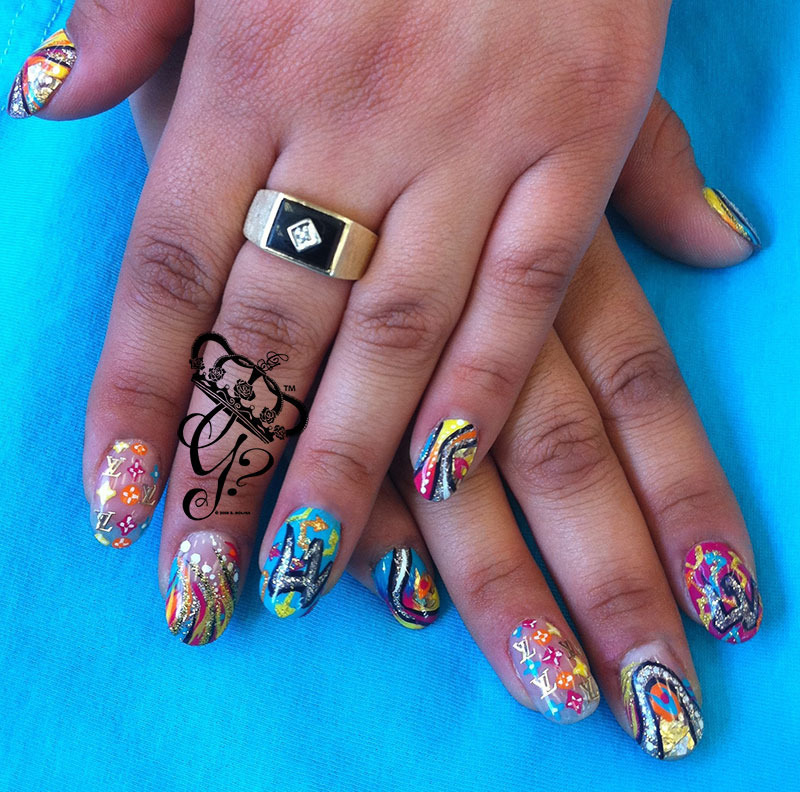 louis vuitton graffiti nail art by G's Nails N' Creations