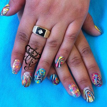 louis vuitton graffiti nail art by G's Nails N' Creations