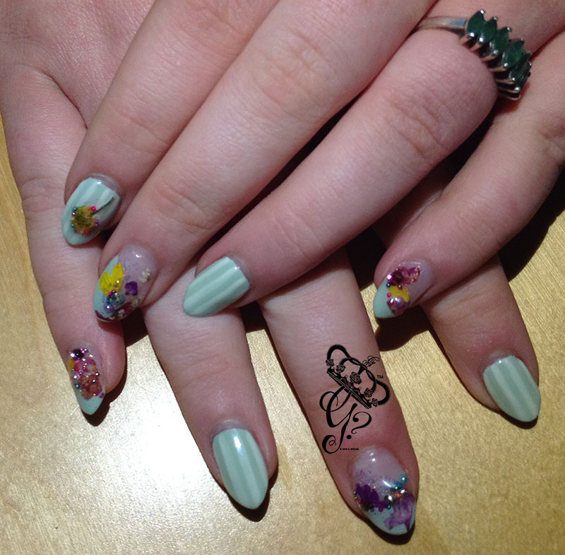 Dried flowers + pinstripes nail art by G's Nails N' Creations