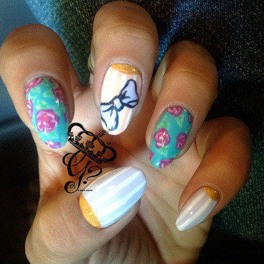 flowers + halfmoons + stripes nail art by G's Nails N' Creations