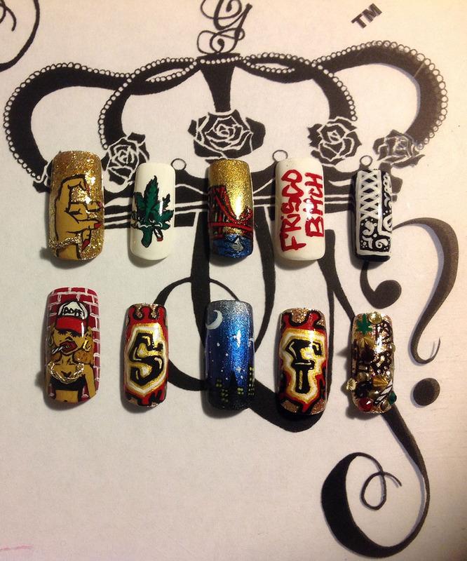 SF Born + Raised nail art by G's Nails N' Creations