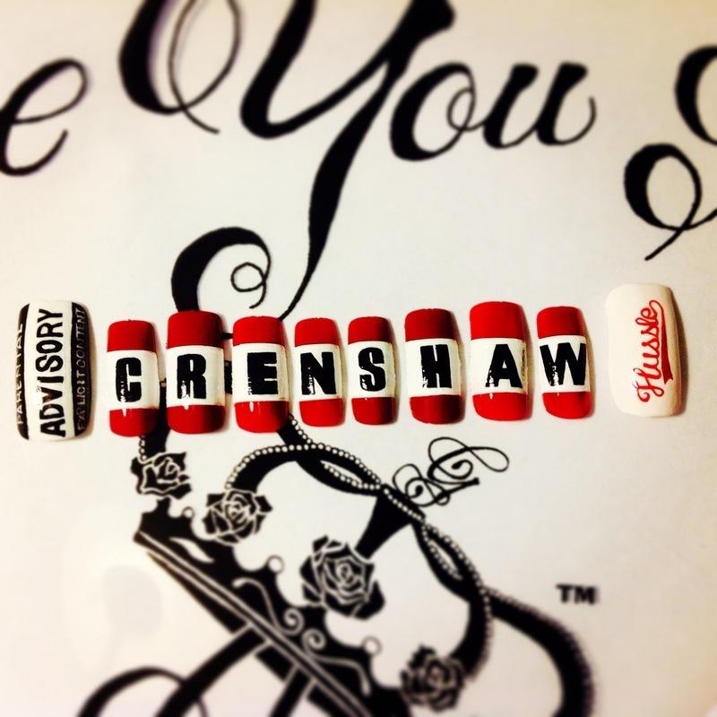 Crenshaw nail art by G's Nails N' Creations