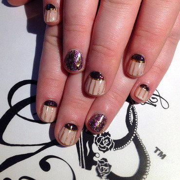 Pinstripe + halfmoons nail art by G's Nails N' Creations