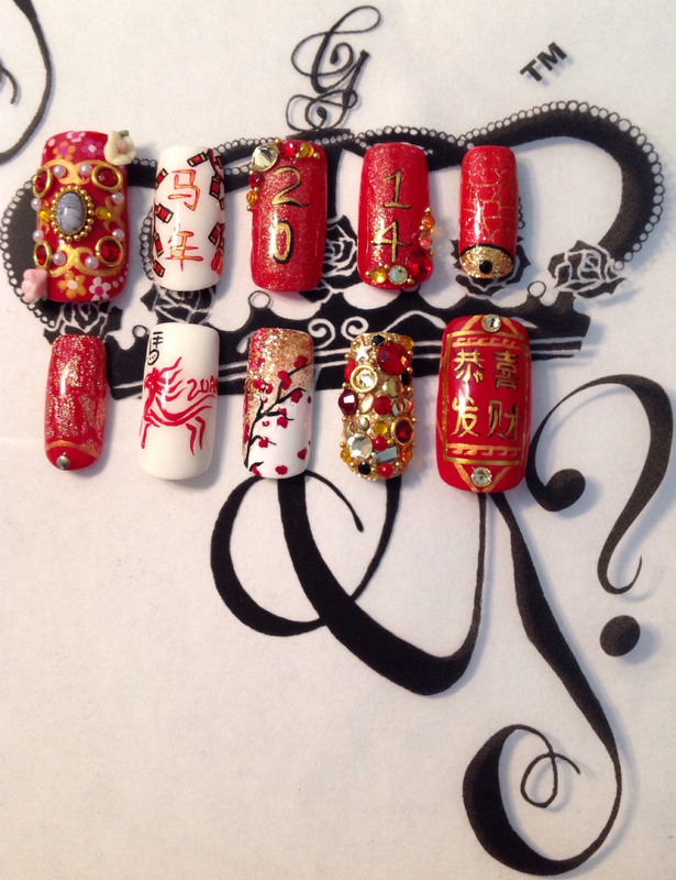 Chinese New Year 2014 nail art by G's Nails N' Creations