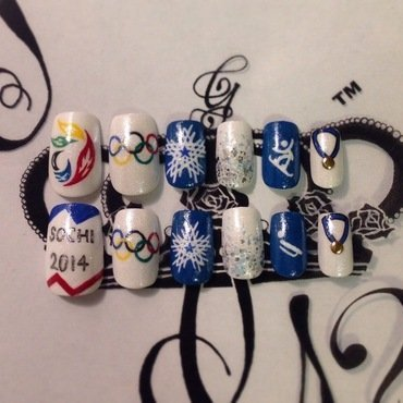 Sochi 2014 Olympics nail art by G's Nails N' Creations