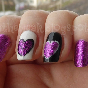 Valentine's nails nail art by Kasia