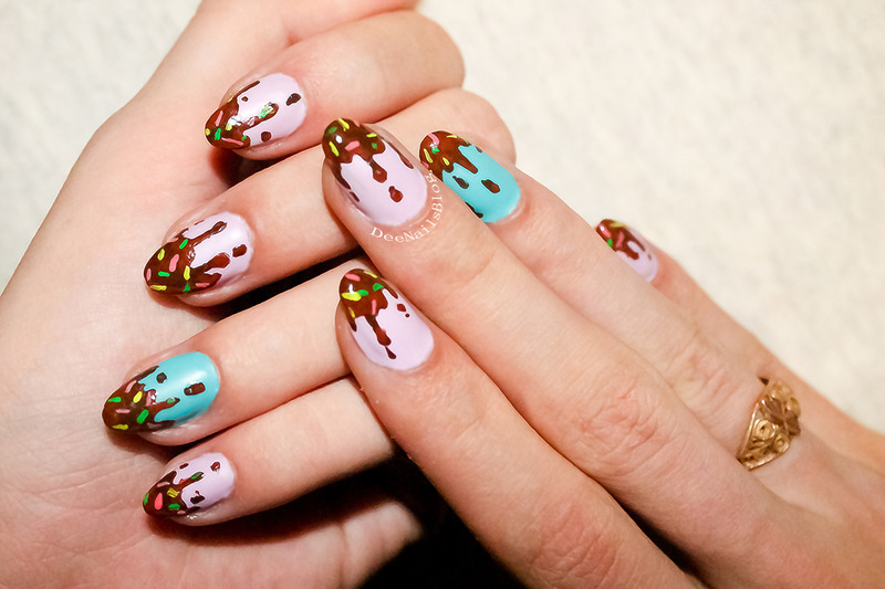 Dripping chocolate with sprinkles nail art by Diana Livesay
