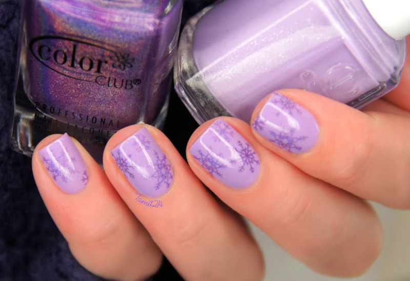 Purple snowflakes nails. nail art by Paulina