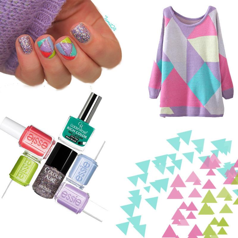 Happy triangles nails. nail art by Paulina