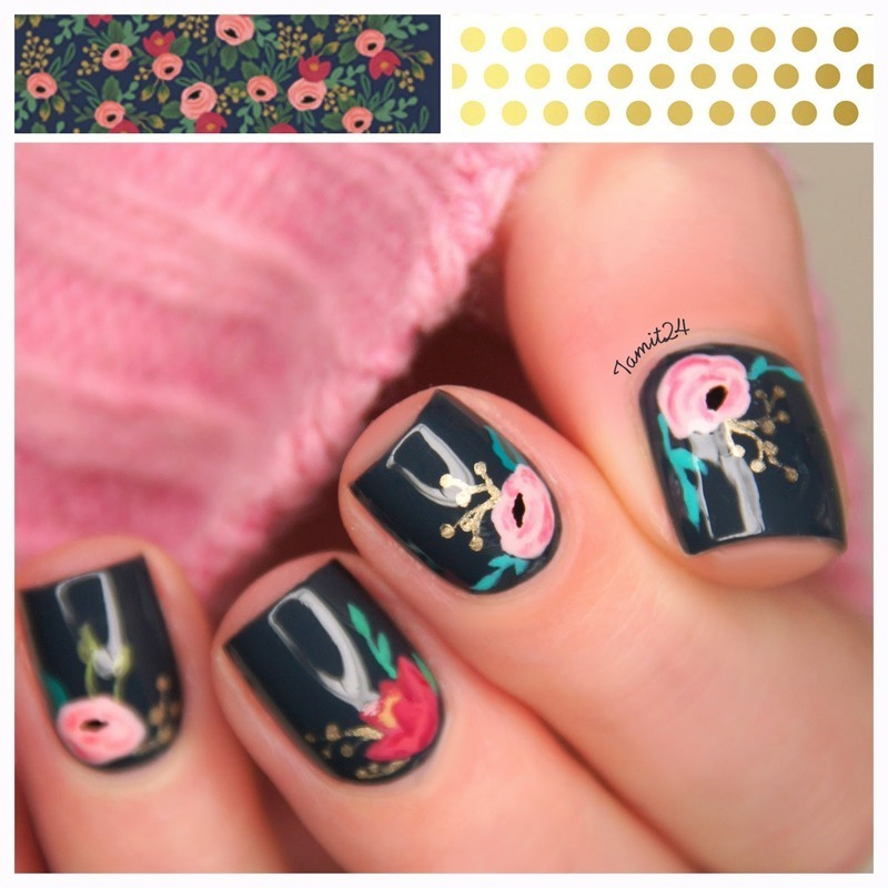 Vintage flower notebook nails. nail art by Paulina