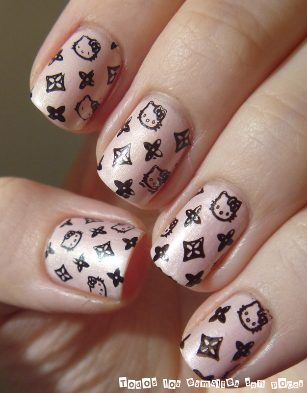 Hello Kitty and Louis Vuitton nail art by Maria