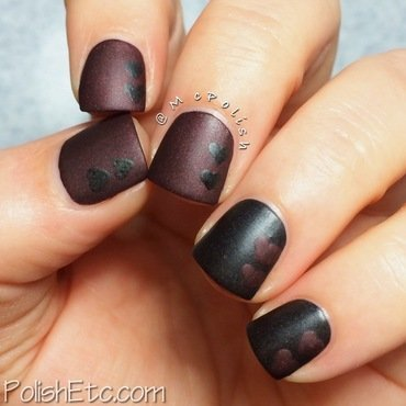 Vampy Matte Hearts nail art by Amy McG
