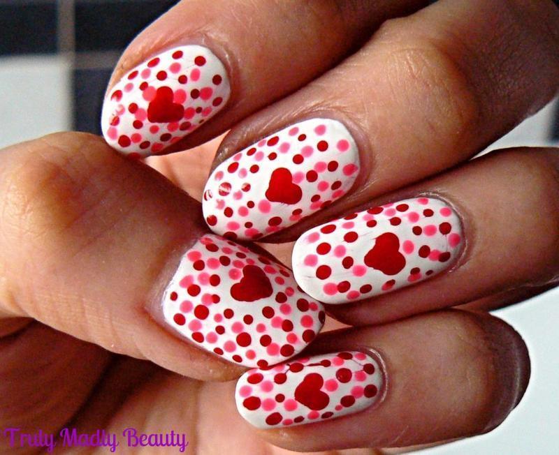 Valentines Dotticure! nail art by Aysha Baig