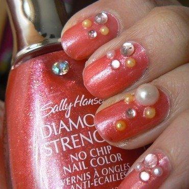 Diamond and Pearl Nails nail art by Aysha Baig