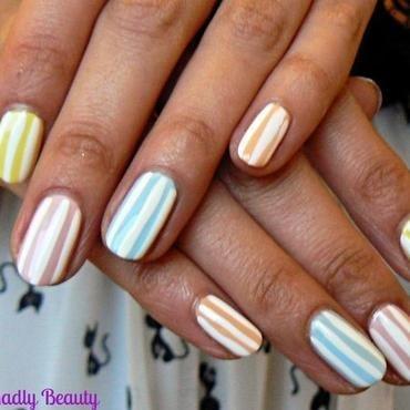 Candy Stripe Pastel Nails nail art by Aysha Baig