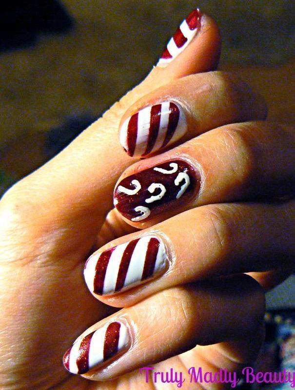 Candy Cane Nails nail art by Aysha Baig