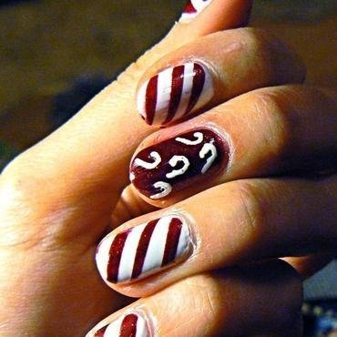 Candy Cane Nails nail art by Aysha Baig