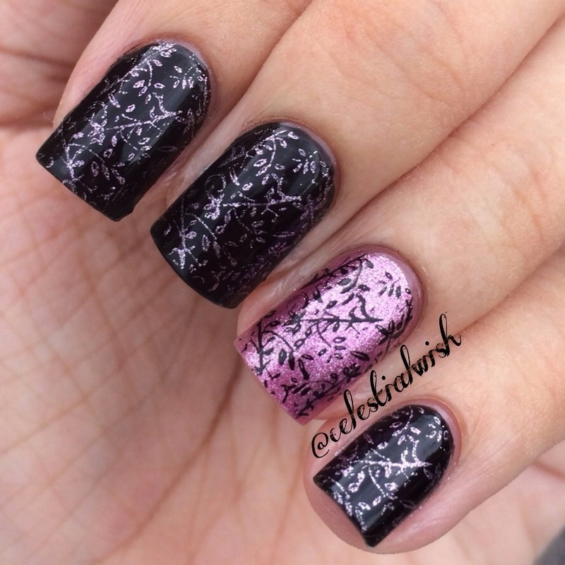 Pink & Black Stamping nail art by Celestine