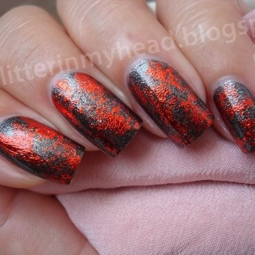 Lava & steel nail art by The Wonderful Pinkness