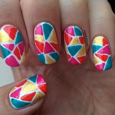 Beachy Mosaic nail art by Harriet Lockett