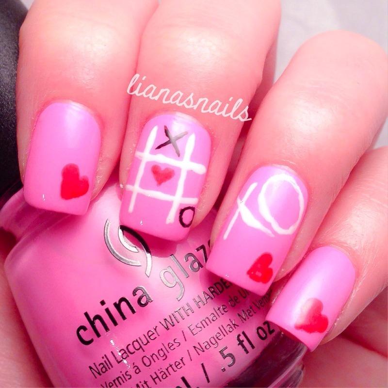 Tic-tac-xo nail art by Liana
