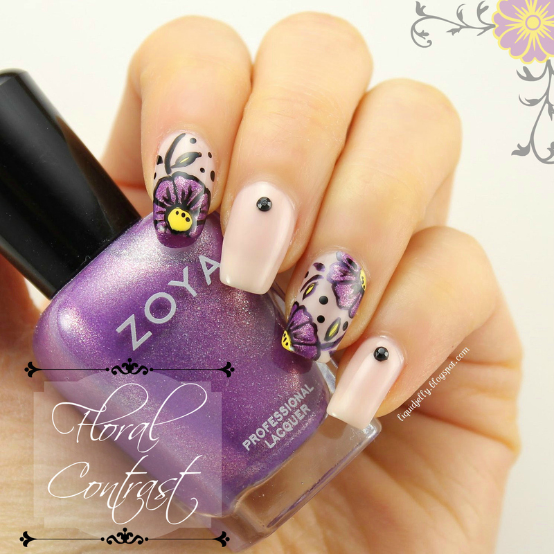 Floral Contrast nail art by Liquid Jelly