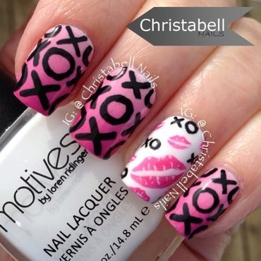 ChristabellNails Valentine's Day Hugs and Lipstick Kisses nail art by Christabell