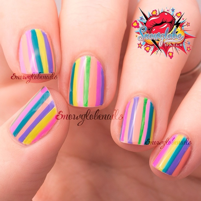 Summer striped mani nail art by Megan
