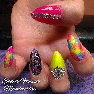 Neon Galaxies nail art by Sonia Garcia