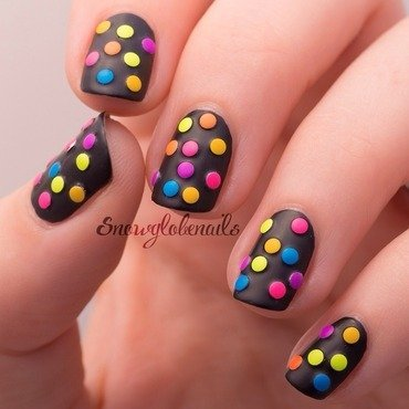 Neon studded mani nail art by Megan