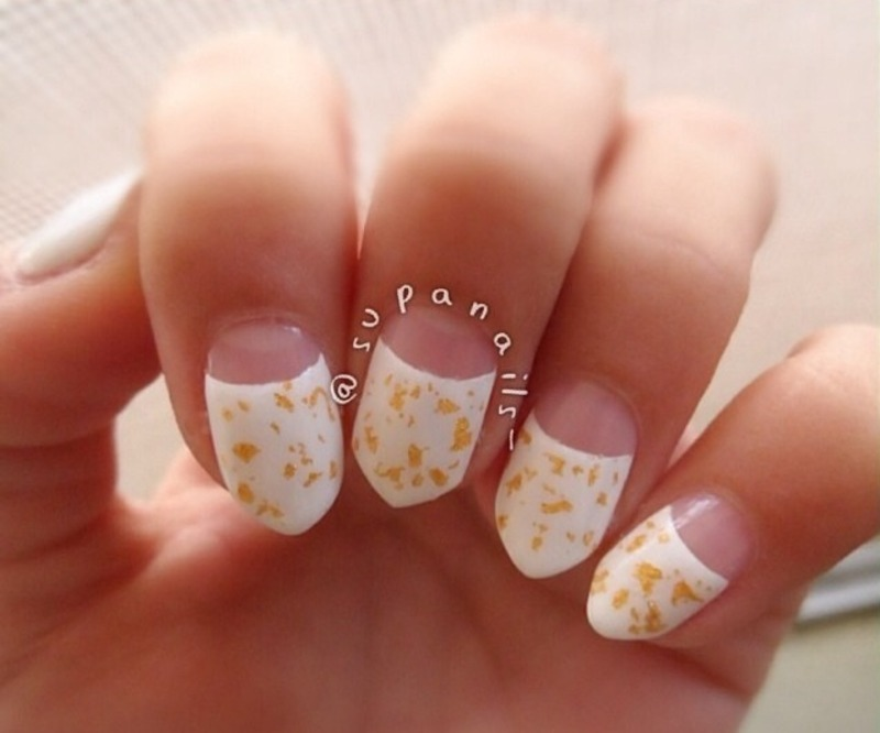 Half moon white and gold nail art by Natalie Cruz