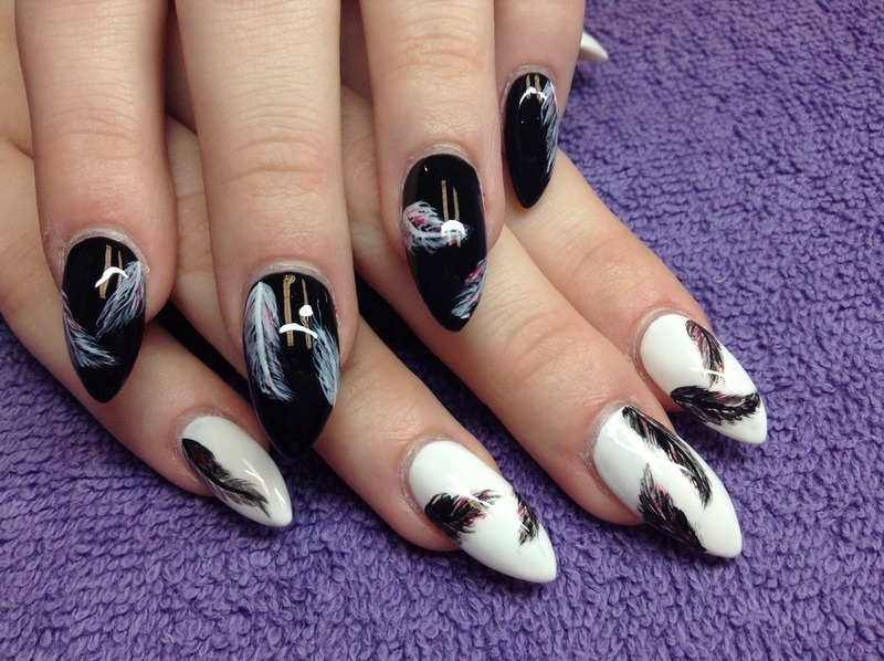 Fly away with feathers nail art by Sonia Garcia