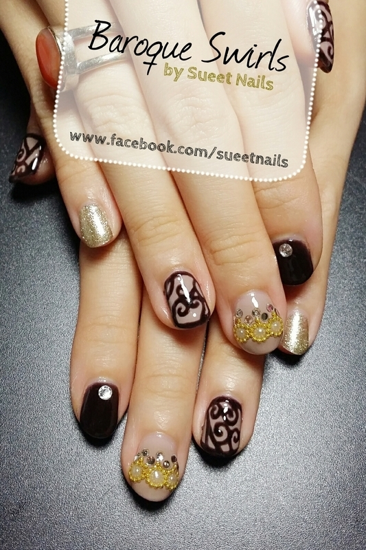 Baroque Swirls nail art by Sueet Nails