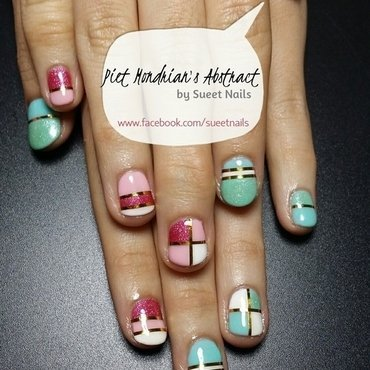 Piet Mondrian's Abstract nail art by Sueet Nails