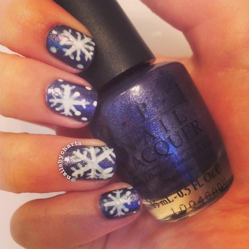 snowflakes nail art by Claudia
