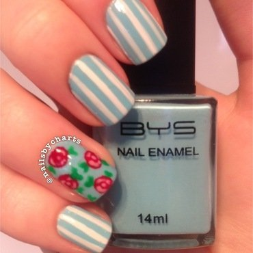 floral stripes nail art by Claudia