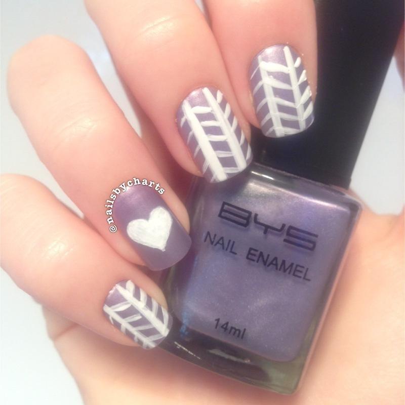 purple heart nail art by Claudia
