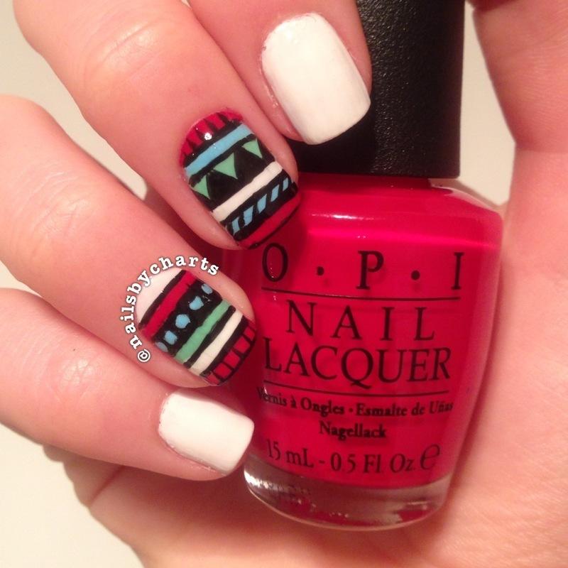 aztec nail art by Claudia