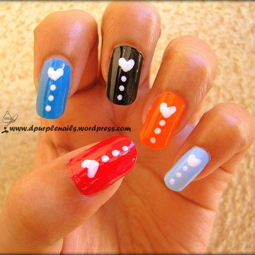 Multi colored love nails nail art by Deepika