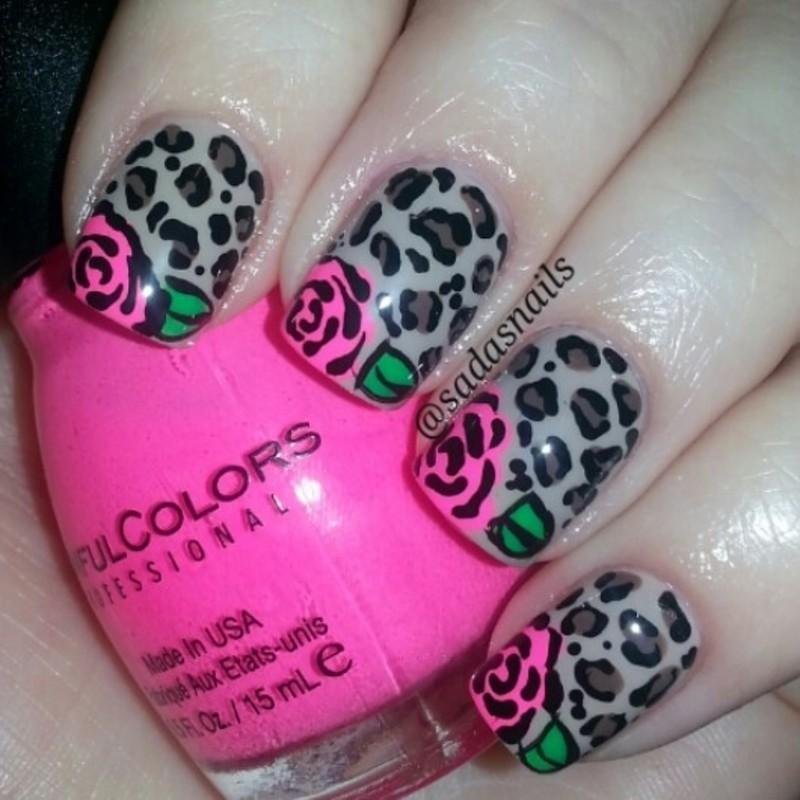 leopard and roses  nail art by Sada