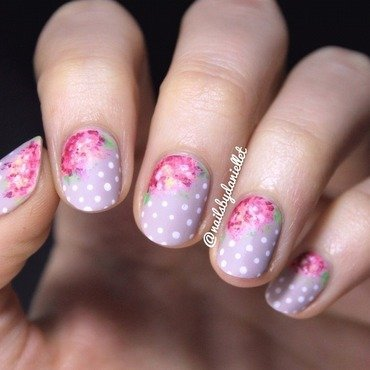 Sweet florals and polka dots 💕 nail art by Danielle