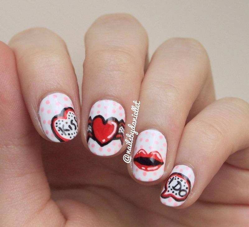💥POP art Valentine's nails :)  nail art by Danielle
