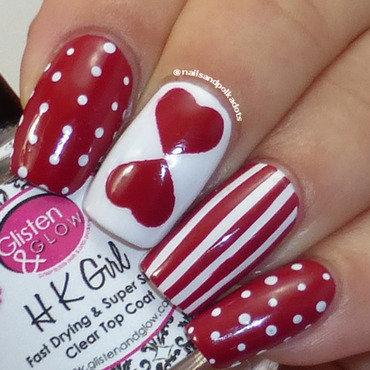 Valentine's Manicure nail art by Nailsandpolkadots