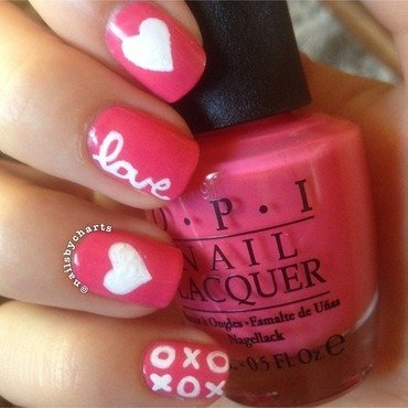 Hearts and kisses nail art by Claudia