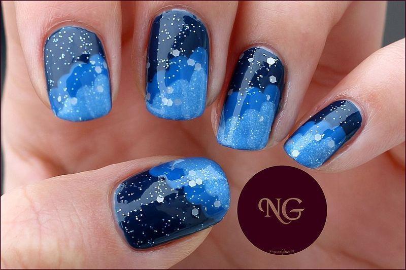 Starry Night nail art by NailGlaze