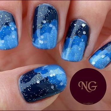 Starry Night nail art by NailGlaze